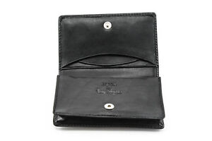 Tony Perotti Front Pocket Leather Business And Credit Card Case Wallet In Black