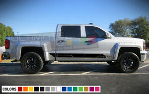 Decal Sticker Side Door Stripes For Chevrolet Silverado 2014 2017 18 Z71 4x4 Bed