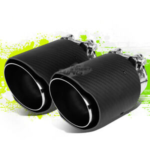 Dual Carbon Fiber Racing Exhaust Catback Muffler 3 5 Od Tip Clamp For 2 5 Pipe