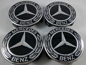 4x Set Wheel Center Caps Emblem Black And Chrome Hubcaps For Mercedes Benz 75mm