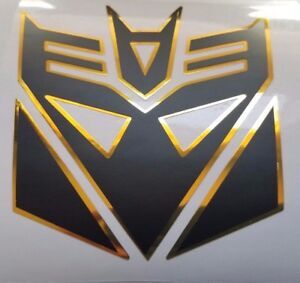 Transformers Decepticon Megatron Decal Sticker Flat Black W Yellow Gold Chrome