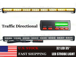 32 Led 35 Traffic Adviser Flash Security Emergency Warn Strobe Light Bar Amber