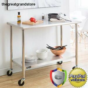 Stainless Steel Rolling Prep Table Kitchen Garage Storage Utility Counter Wheels