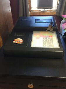 Sam4s Cash Register black condition Is Great Can Be Programmed To Employees