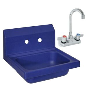 Bk Resources Aphs w1410 bpg Antimicrobial Plastic Hand Sink With 3 Faucet