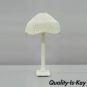 Vtg White Wicker Victorian Style Table Dresser Vanity Lamp Rattan Cottage Chic B
