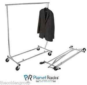 Heavy Duty Adjustable Rolling Salesman Clothing Garment Rack It Folds new
