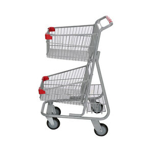 Shopping Cart Grocery Basket 2 tier Convenience Store Market Gray Lot Of 6 New