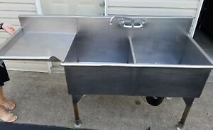 Heavy Duty Stainless Steel 2 Comp Sink Left Drainboard W Faucet