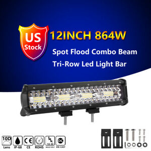 12 Inch 1176w Quad Row Led Light Bar Spot Flood Boat Offroad Atv Vs 9 10 14