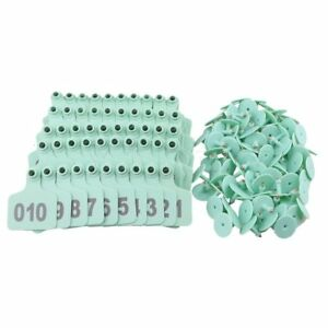 100pcs 6 X 7 3cm Green Number 001 100 Livestock Ear Tag Copper Nail