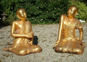 Old Pair Of Monks Statues In Mandalay Style From Burma Antique Buddha Statues
