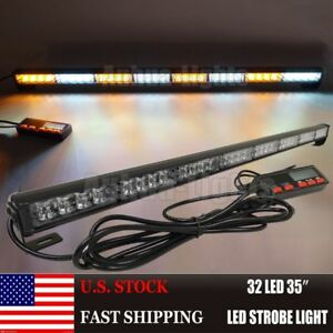 35 32 Led Amber Whtie Strobe Truck Traffic Advisor Directional Arrow Light Bar