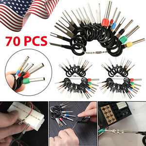70pcs Car Terminal Removal Tool Kit Wire Plug Connector Extractor Puller Pin