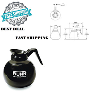 Bunn O Matic 12 Cup 64 Oz Glass Coffee Pot Decanter Drip Proof Black Hot Nsf New