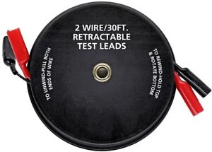 2 Wire Retractable Test Leads 18 Gauge Insulated Alligator Clips Trailers 30