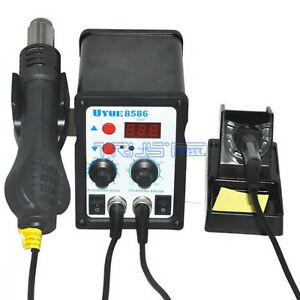 2in1 Smd Rework Soldering Station Solder Iron Welder Hot Air Gun Esd 3 Nozzles
