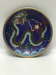 Chinese Cloisonn Enamel Dragon Decorated Plate