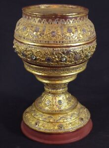 19th Century Lacquered Offering Vessel From Burma Antique Buddha Statues