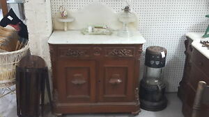 Antique Ornate 1860 S Marble Top Wash Stand Double Doors