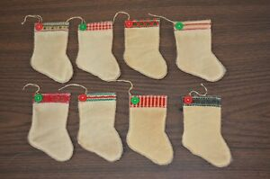 8 Quilted Stocking Ornies Christmas Tree Primitive Decor Hanging Ornaments Lot C