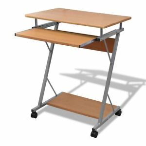 Mobile Compact Computer Cart Desk Laptop Table With Keyboard Tray Wooden Brown