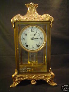Antique Seth Thomas Gilt Case Crystal Regulator Clock C 1900
