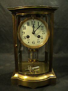 Antique French Crystal Regulator Clock Bow Front C 1900