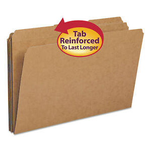 Smead Kraft File Folders 1 3 Cut Reinforced Top Tab Legal Kraft 100 box 15734