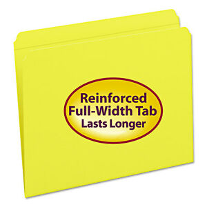 Smead File Folders Straight Cut Reinforced Top Tab Letter Yellow 100 box 12910