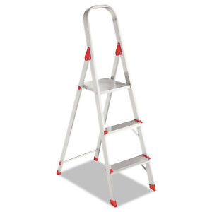 Louisville 566 Folding Aluminum Euro Platform Ladder 3 step Red L234603