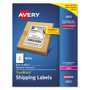 Avery Shipping Labels With Trueblock Technology Laser 5 1 2 X 8 1 2 White 500