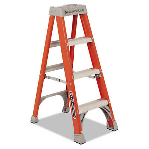 Louisville Fiberglass Heavy Duty Step Ladder 50 3 step Orange Fs1504
