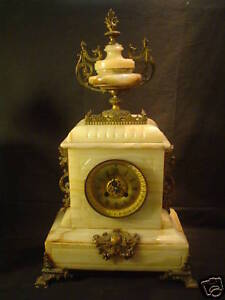 19th C Antique French Marble Bronze Mantle Clock