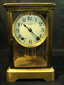Ansonia Brass Crystal Regulator Clock Double Barrel Pendulum C 1900