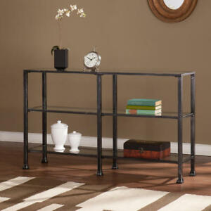 Metal glass 3 tier Console Table