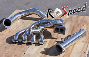 For Honda B Series Stainless Tubular Top Mount Turbo Manifold T4 Downpipe