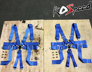 3 wide Blue Nylon Strap 6 point Racing Camlock Safety Seat Belt Harness X2 bolt