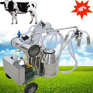 Portable Electric Vacuum Pump Milking Machine Milker Cow Double Tank Farm Cattle