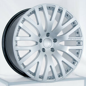 Set Of 22 Stagger Hyper Silver Marcellino Wheels Rims Fits Porsche