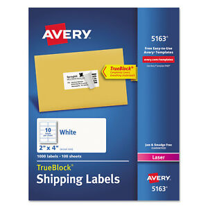 Avery Shipping Labels With Trueblock Technology Laser 2 X 4 White 1000 box 5163