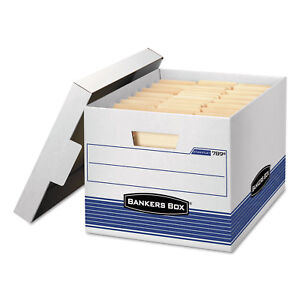 Bankers Box Stor file Med duty Letter legal Storage Boxes Locking Lid White blue