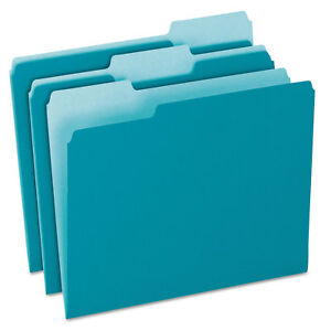 Pendaflex Colored File Folders 1 3 Cut Top Tab Letter Teal light Teal 100 box