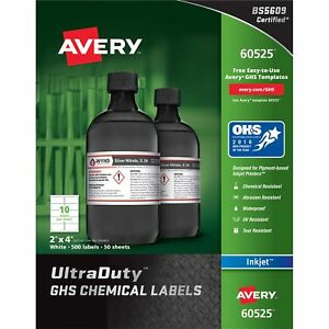 Avery Chemical Container Labels 2 x4 50shts 500 bx We 60525
