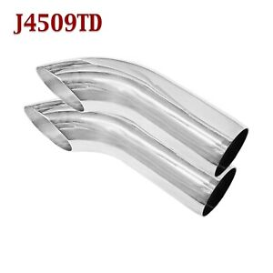 J4509td Pair 2 25 Stainless Turn Down Exhaust Tips 2 1 4 Inlet 9 Long
