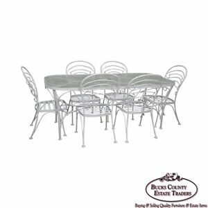 Woodard White Painted Oval Glass Top Patio Dining Table 6 Chair Set