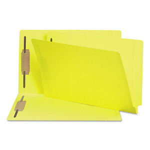 Smead Two inch Capacity Fastener Folders Straight Tab Legal Yellow 50 box 28940