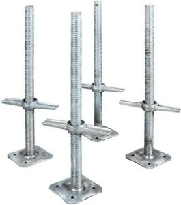Adjustable 24 In Steel Leveling Scaffolding Screw Jack With Base Plate 4 pack