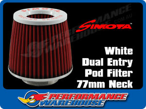 Simota Racing Dual Entry Pod Air Filter White Top Red Element 77mm Neck