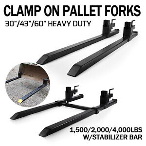 Hd 1500 2000 4000lbs Clamp On Pallet Forks Loader Bucket Tractor Stabilizer Bar